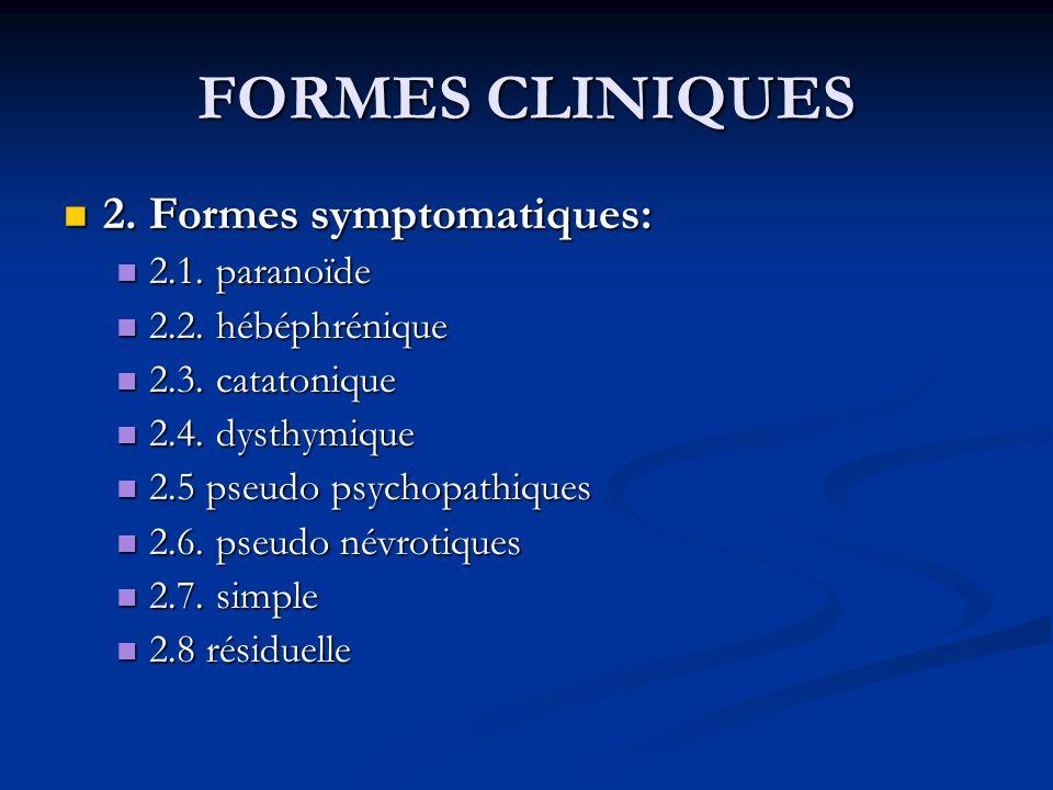 FORMES CLINIQUES 2. Formes symptomatiques: 2. Formes symptomatiques: 2.1. paranoïde 2.1. paranoïde 2.2. hébéphrénique 2.2. hébéphrénique 2.3. catatoni