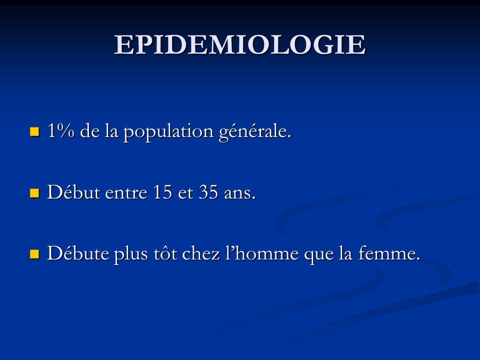 EPIDEMIOLOGIE 1% de la population générale. 1% de la population générale. Début entre 15 et 35 ans. Début entre 15 et 35 ans. Débute plus tôt chez lho