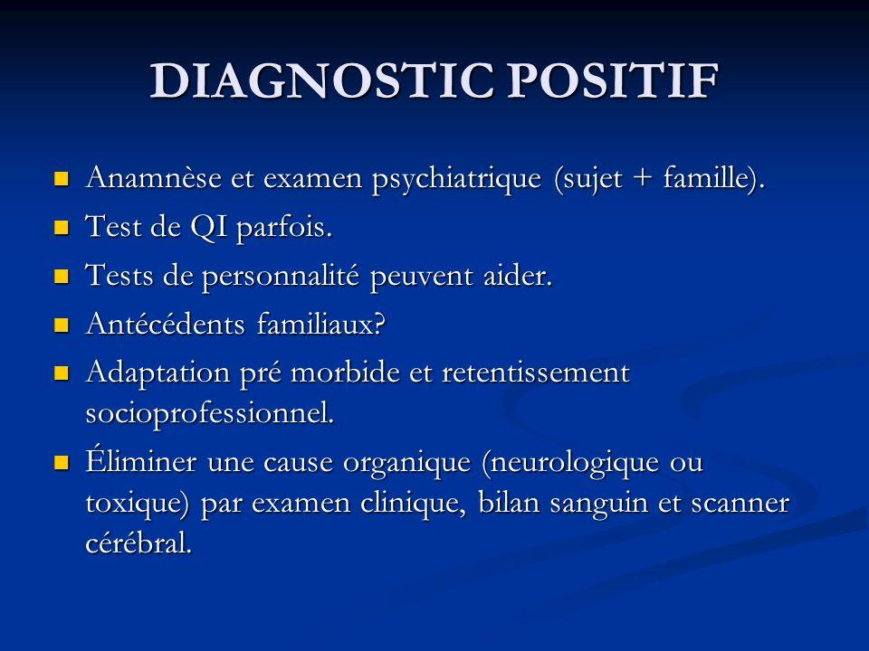 DIAGNOSTIC POSITIF Anamnèse et examen psychiatrique (sujet + famille). Anamnèse et examen psychiatrique (sujet + famille). Test de QI parfois. Test de