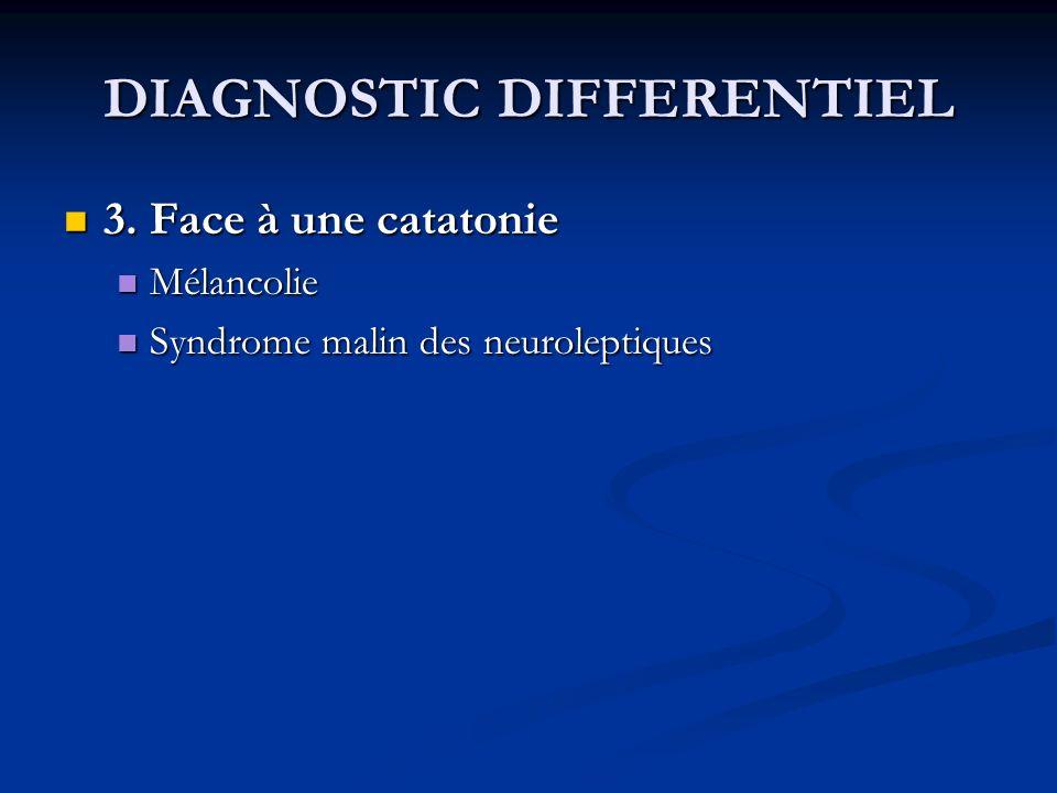 DIAGNOSTIC DIFFERENTIEL 3. Face à une catatonie 3. Face à une catatonie Mélancolie Mélancolie Syndrome malin des neuroleptiques Syndrome malin des neu