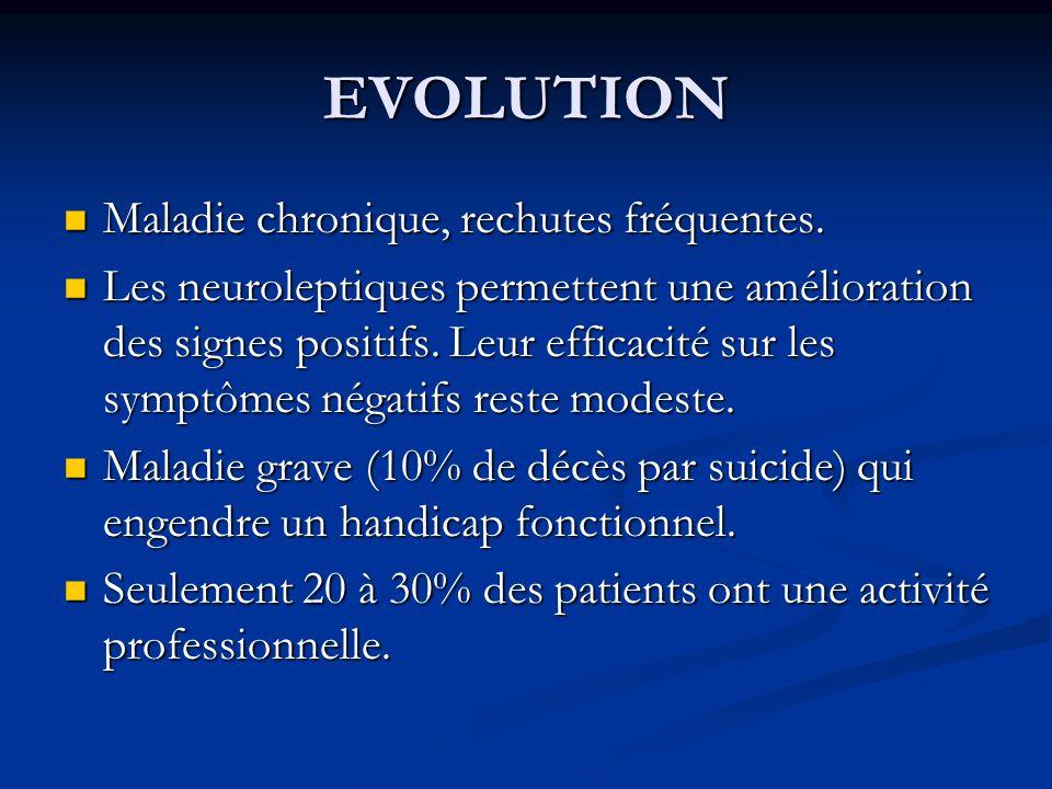 EVOLUTION Maladie chronique, rechutes fréquentes. Maladie chronique, rechutes fréquentes. Les neuroleptiques permettent une amélioration des signes po