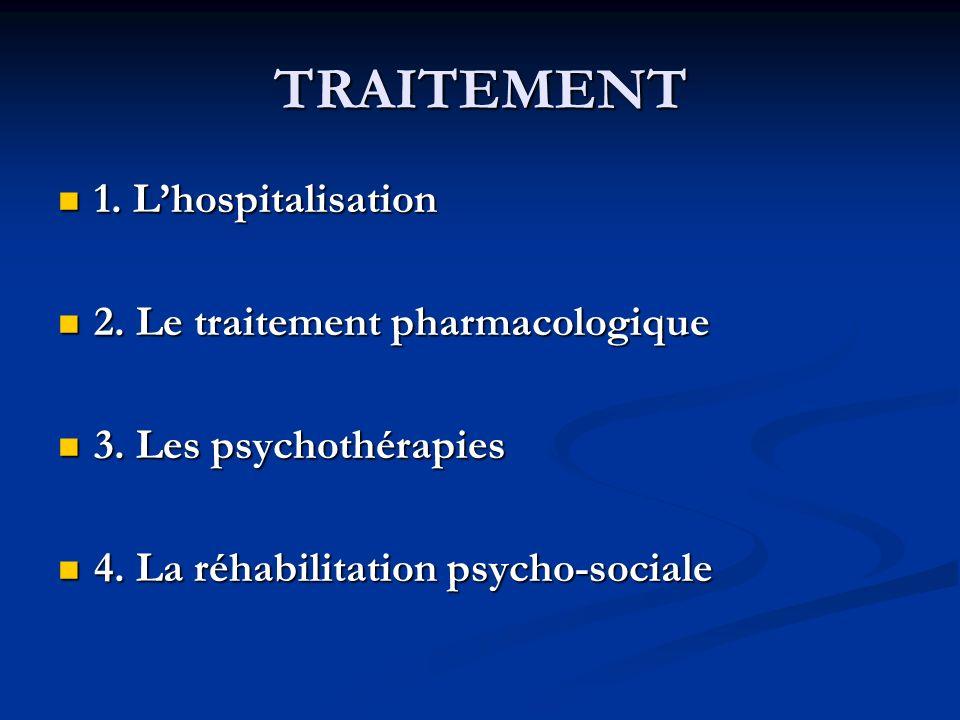 TRAITEMENT 1. Lhospitalisation 1. Lhospitalisation 2. Le traitement pharmacologique 2. Le traitement pharmacologique 3. Les psychothérapies 3. Les psy