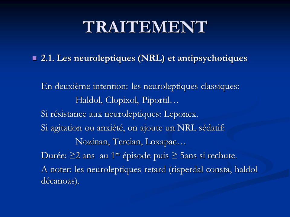 TRAITEMENT 2.1. Les neuroleptiques (NRL) et antipsychotiques 2.1. Les neuroleptiques (NRL) et antipsychotiques En deuxième intention: les neuroleptiqu