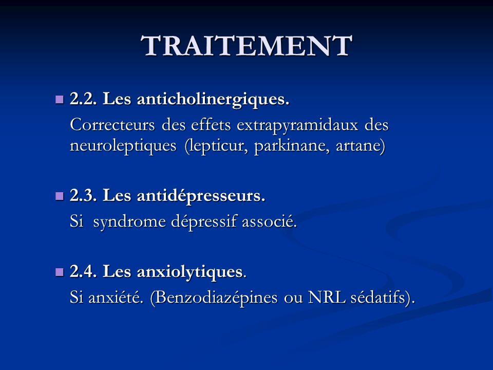 TRAITEMENT 2.2. Les anticholinergiques. 2.2. Les anticholinergiques. Correcteurs des effets extrapyramidaux des neuroleptiques (lepticur, parkinane, a