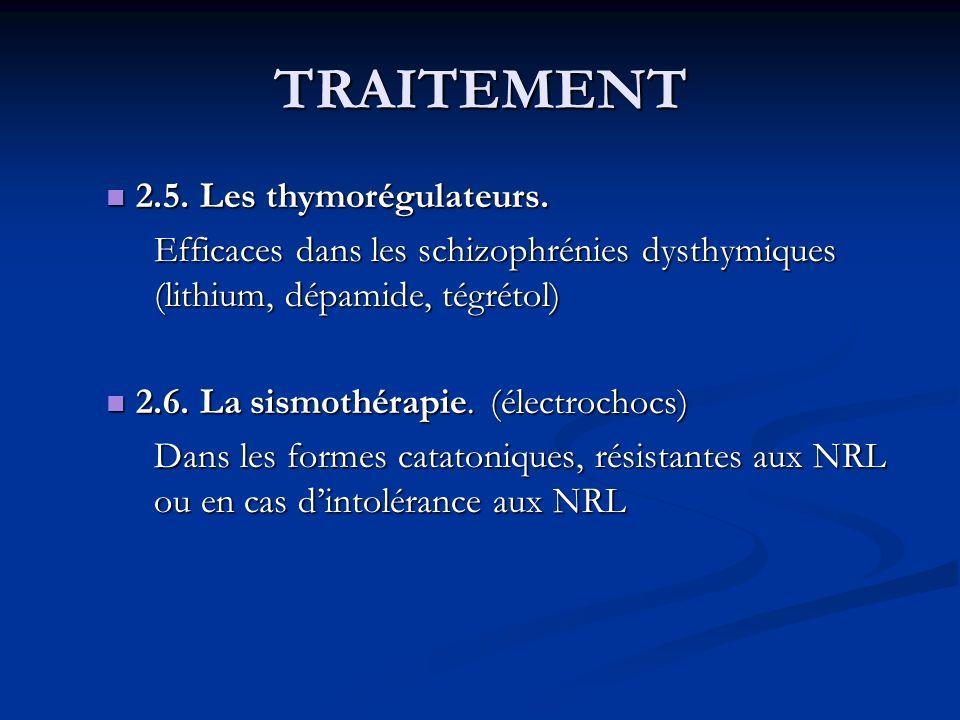 TRAITEMENT 2.5. Les thymorégulateurs. 2.5. Les thymorégulateurs. Efficaces dans les schizophrénies dysthymiques (lithium, dépamide, tégrétol) 2.6. La