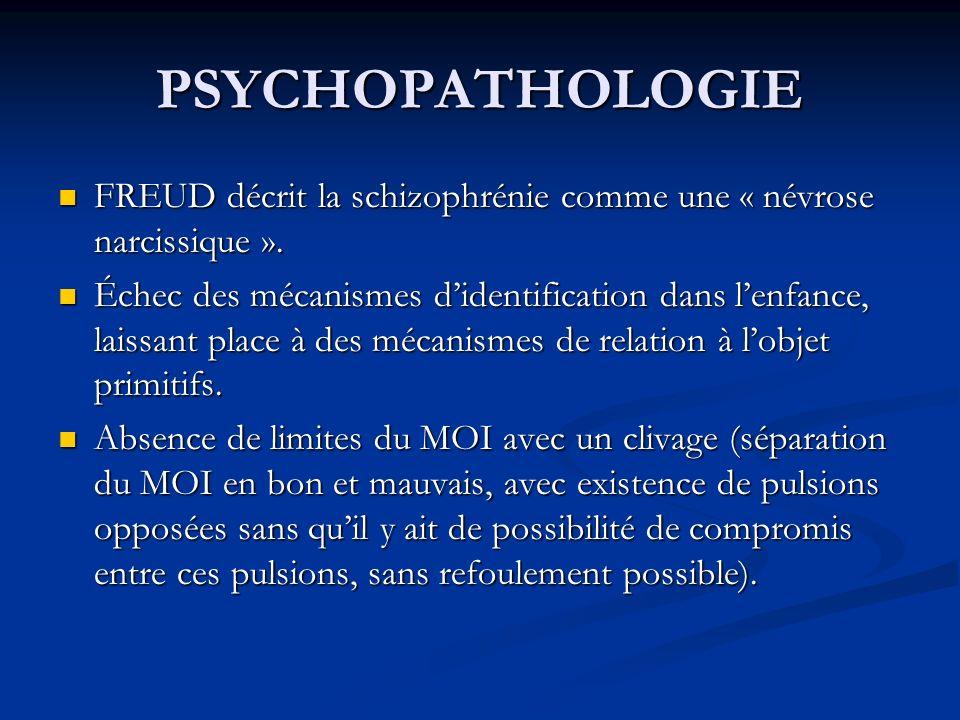 PSYCHOPATHOLOGIE FREUD décrit la schizophrénie comme une « névrose narcissique ». FREUD décrit la schizophrénie comme une « névrose narcissique ». Éch