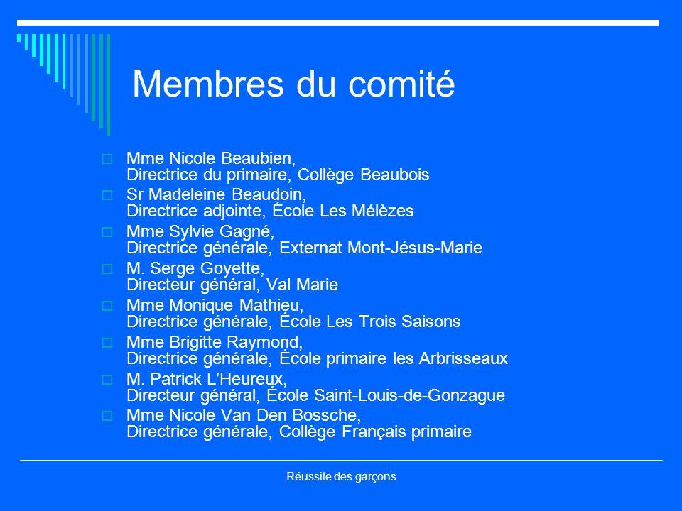 Réussite des garçons Membres du comité Mme Nicole Beaubien, Directrice du primaire, Collège Beaubois Sr Madeleine Beaudoin, Directrice adjointe, École