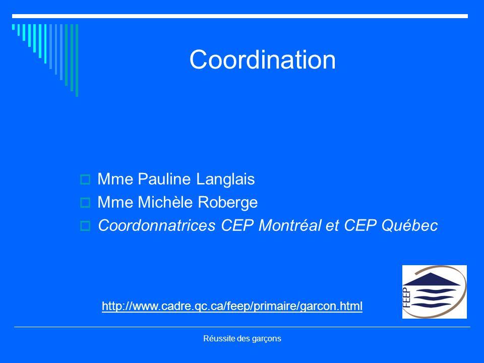 Réussite des garçons Coordination Mme Pauline Langlais Mme Michèle Roberge Coordonnatrices CEP Montréal et CEP Québec http://www.cadre.qc.ca/feep/prim