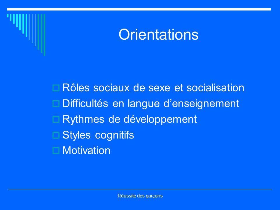 Réussite des garçons Orientations Rôles sociaux de sexe et socialisation Difficultés en langue denseignement Rythmes de développement Styles cognitifs Motivation
