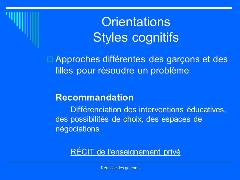 Réussite des garçons Orientations Styles cognitifs Approches différentes des garçons et des filles pour résoudre un problème Recommandation Différenci