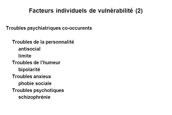 Facteurs individuels de vulnérabilité (2) Troubles psychiatriques co-occurents Troubles de la personnalité antisocial limite Troubles de l humeur bipolarité Troubles anxieux phobie sociale Troubles psychotiques schizophrénie
