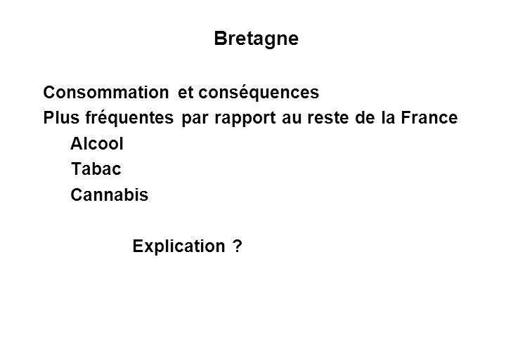 Bretagne Consommation et conséquences Plus fréquentes par rapport au reste de la France Alcool Tabac Cannabis Explication ?