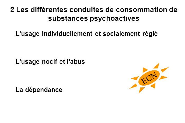 2 Les différentes conduites de consommation de substances psychoactives L usage individuellement et socialement réglé L usage nocif et l abus La dépendance ECN