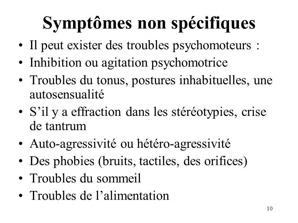Symptômes non spécifiques Il peut exister des troubles psychomoteurs : Inhibition ou agitation psychomotrice Troubles du tonus, postures inhabituelles