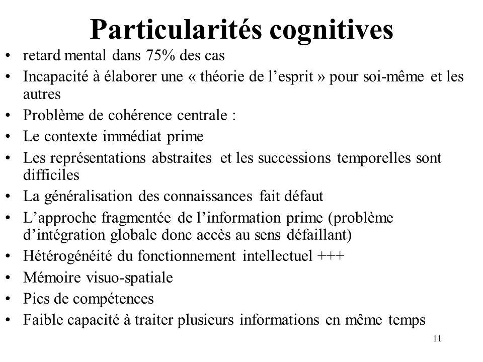 Particularités cognitives retard mental dans 75% des cas Incapacité à élaborer une « théorie de lesprit » pour soi-même et les autres Problème de cohé