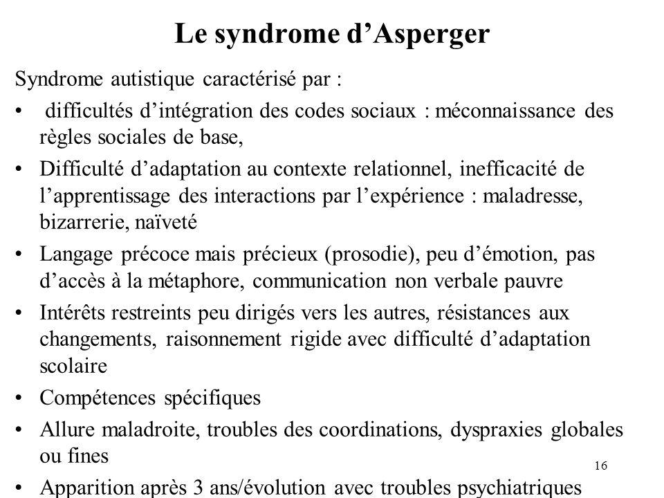 Le syndrome dAsperger Syndrome autistique caractérisé par : difficultés dintégration des codes sociaux : méconnaissance des règles sociales de base, D