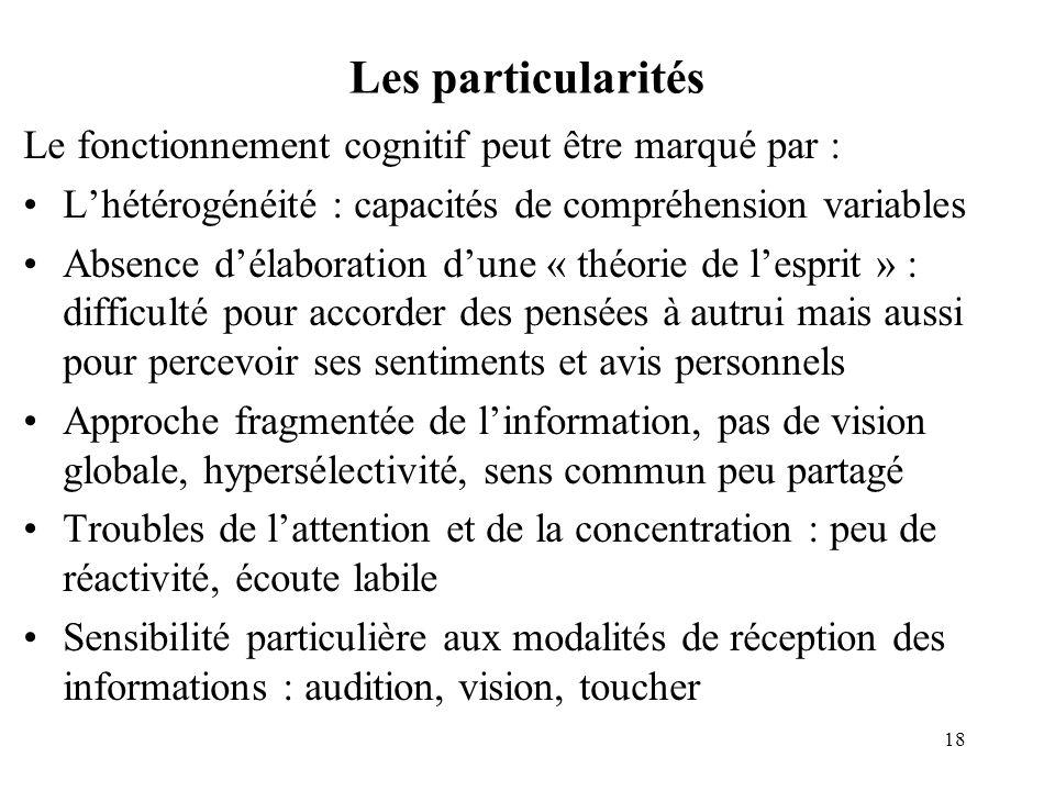 Les particularités Le fonctionnement cognitif peut être marqué par : Lhétérogénéité : capacités de compréhension variables Absence délaboration dune «