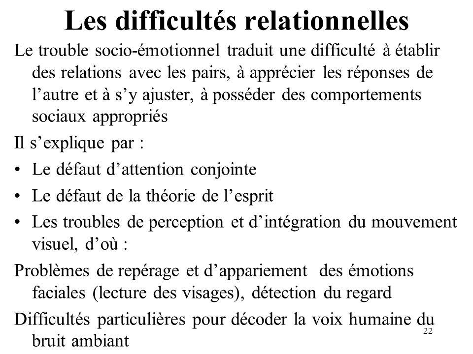 Les difficultés relationnelles Le trouble socio-émotionnel traduit une difficulté à établir des relations avec les pairs, à apprécier les réponses de