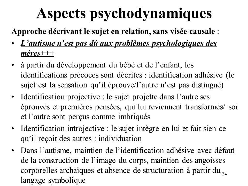 Aspects psychodynamiques Approche décrivant le sujet en relation, sans visée causale : Lautisme nest pas dû aux problèmes psychologiques des mères+++