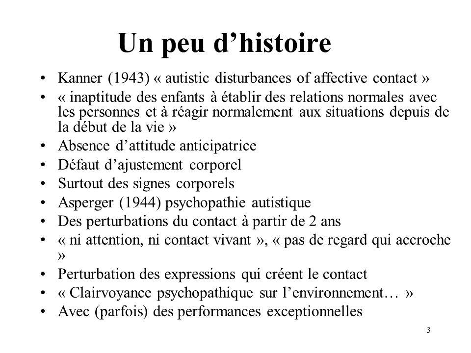 Un peu dhistoire Kanner (1943) « autistic disturbances of affective contact » « inaptitude des enfants à établir des relations normales avec les perso
