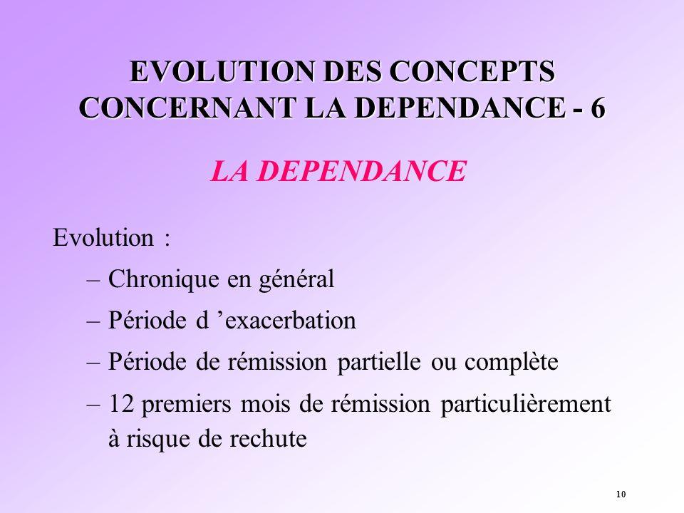 10 EVOLUTION DES CONCEPTS CONCERNANT LA DEPENDANCE - 6 LA DEPENDANCE Evolution : –Chronique en général –Période d exacerbation –Période de rémission p