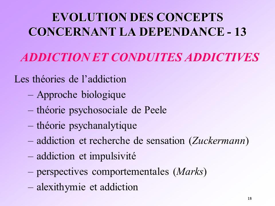 18 EVOLUTION DES CONCEPTS CONCERNANT LA DEPENDANCE - 13 ADDICTION ET CONDUITES ADDICTIVES Les théories de laddiction –Approche biologique –théorie psy