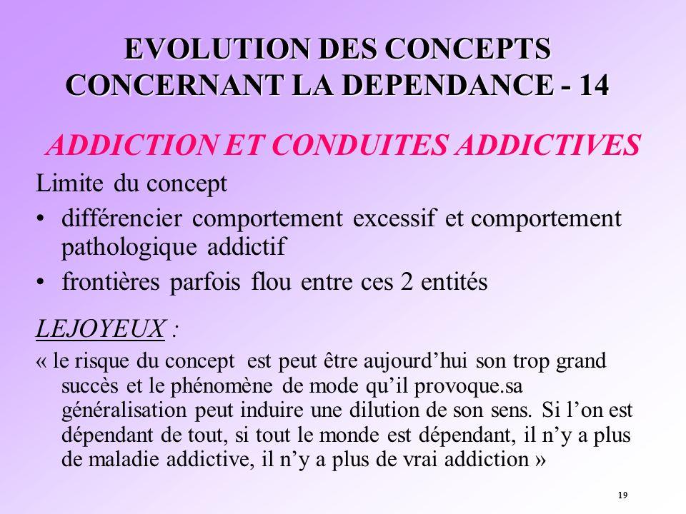 19 EVOLUTION DES CONCEPTS CONCERNANT LA DEPENDANCE - 14 ADDICTION ET CONDUITES ADDICTIVES Limite du concept différencier comportement excessif et comp