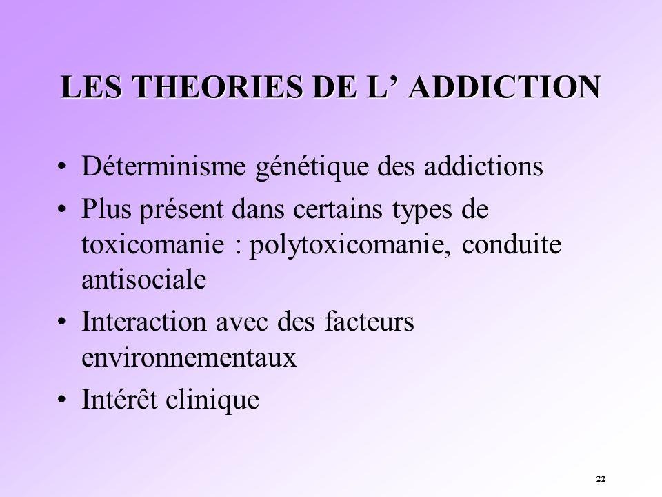 22 LES THEORIES DE L ADDICTION Déterminisme génétique des addictions Plus présent dans certains types de toxicomanie : polytoxicomanie, conduite antis