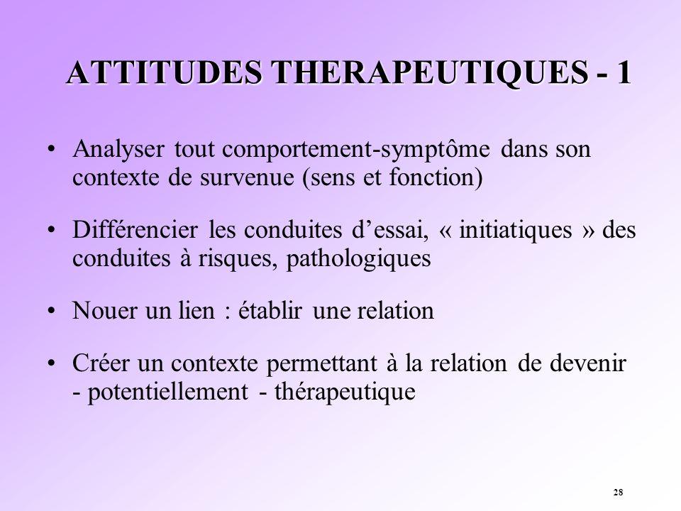 28 ATTITUDES THERAPEUTIQUES - 1 Analyser tout comportement-symptôme dans son contexte de survenue (sens et fonction) Différencier les conduites dessai