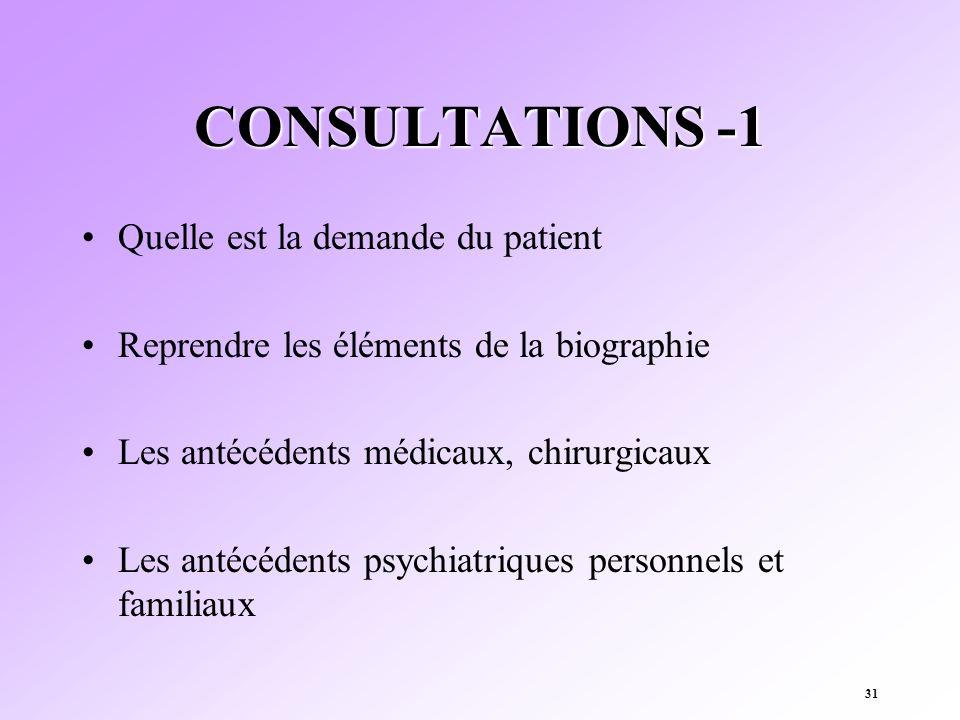 31 CONSULTATIONS -1 Quelle est la demande du patient Reprendre les éléments de la biographie Les antécédents médicaux, chirurgicaux Les antécédents ps