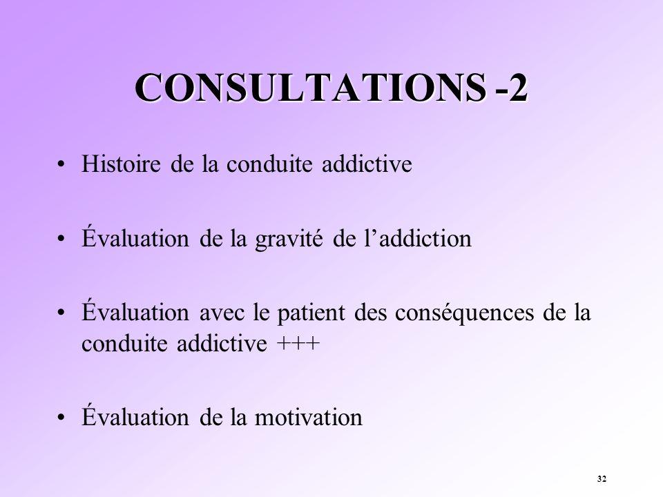 32 CONSULTATIONS -2 Histoire de la conduite addictive Évaluation de la gravité de laddiction Évaluation avec le patient des conséquences de la conduit