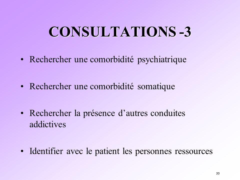 33 CONSULTATIONS -3 Rechercher une comorbidité psychiatrique Rechercher une comorbidité somatique Rechercher la présence dautres conduites addictives