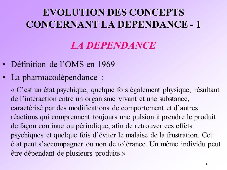 5 EVOLUTION DES CONCEPTS CONCERNANT LA DEPENDANCE - 1 LA DEPENDANCE Définition de lOMS en 1969 La pharmacodépendance : « Cest un état psychique, quelq
