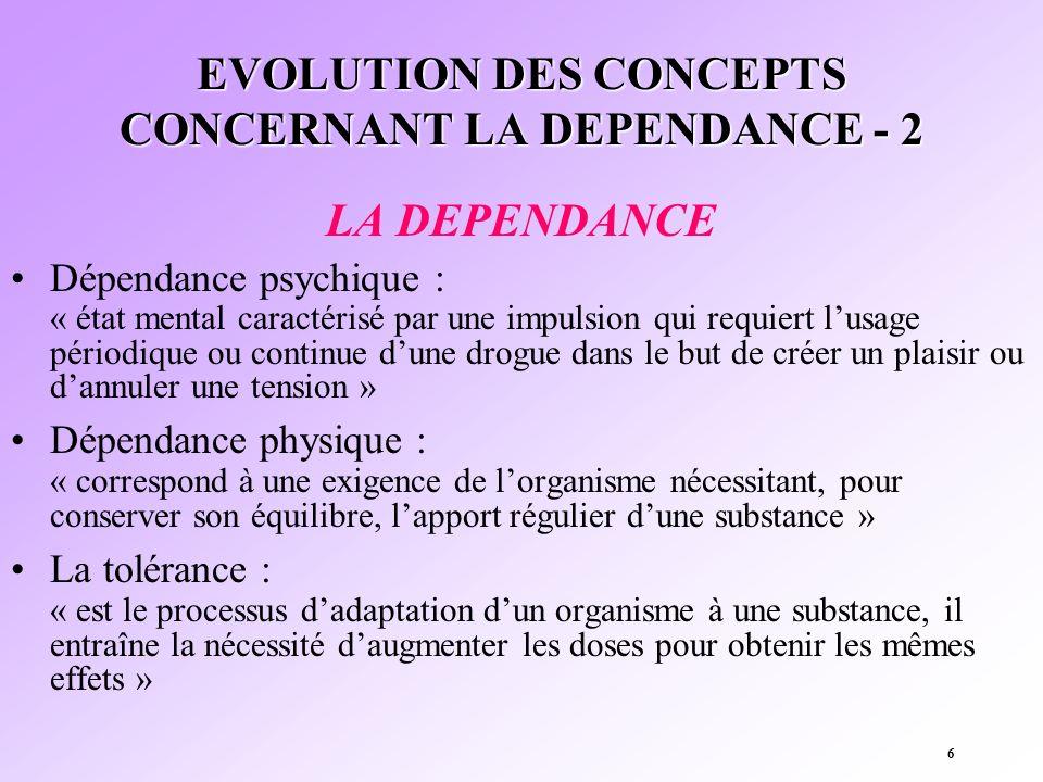 6 EVOLUTION DES CONCEPTS CONCERNANT LA DEPENDANCE - 2 LA DEPENDANCE Dépendance psychique : « état mental caractérisé par une impulsion qui requiert lu