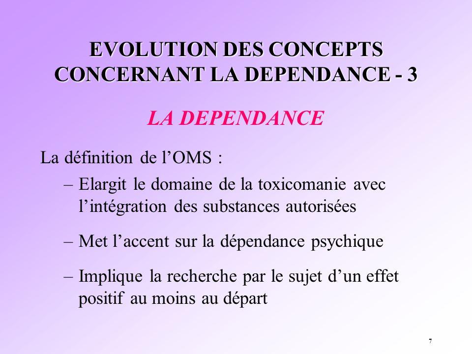 7 EVOLUTION DES CONCEPTS CONCERNANT LA DEPENDANCE - 3 LA DEPENDANCE La définition de lOMS : –Elargit le domaine de la toxicomanie avec lintégration de