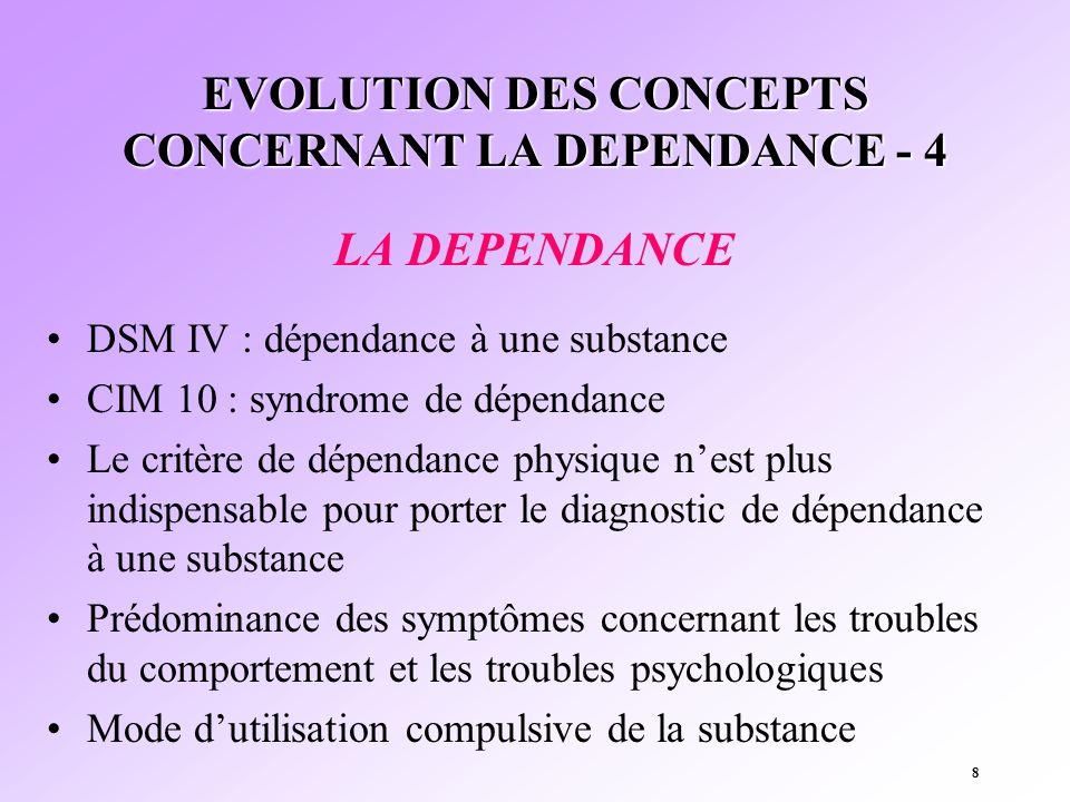 8 EVOLUTION DES CONCEPTS CONCERNANT LA DEPENDANCE - 4 LA DEPENDANCE DSM IV : dépendance à une substance CIM 10 : syndrome de dépendance Le critère de