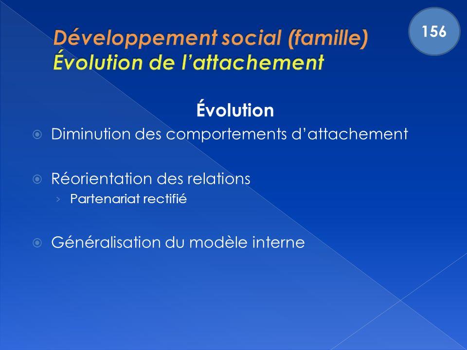 Évolution Diminution des comportements dattachement Réorientation des relations Partenariat rectifié Généralisation du modèle interne 156