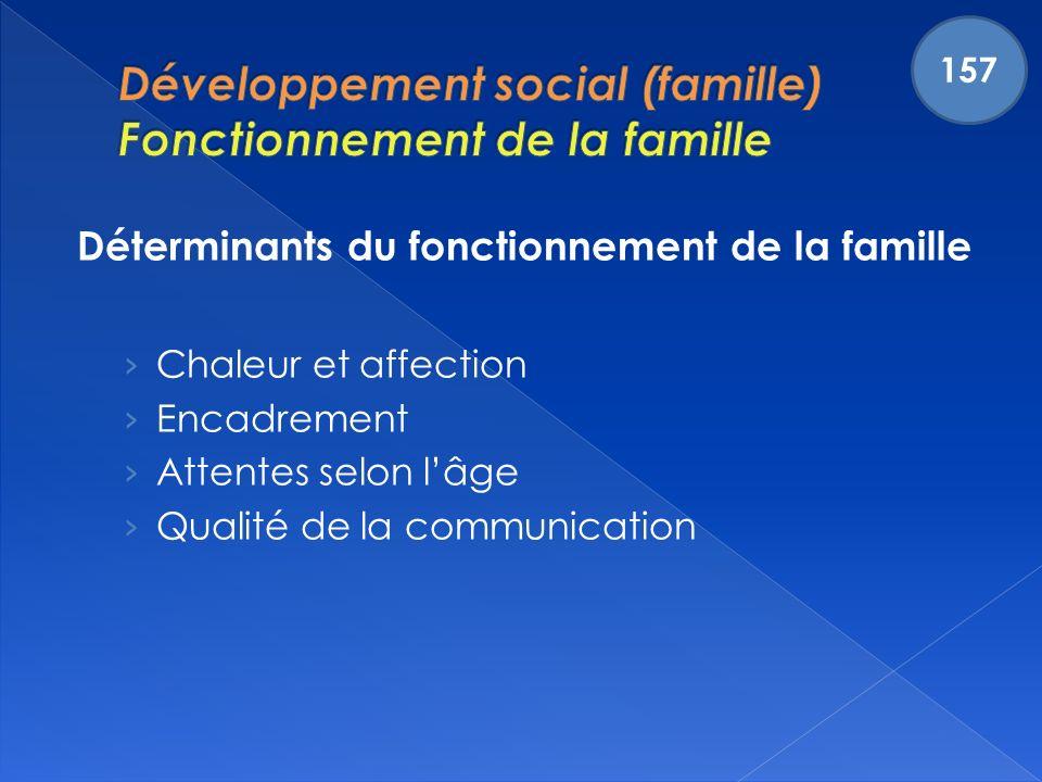 Déterminants du fonctionnement de la famille Chaleur et affection Encadrement Attentes selon lâge Qualité de la communication 157