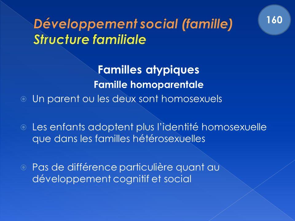 Familles atypiques Famille homoparentale Un parent ou les deux sont homosexuels Les enfants adoptent plus lidentité homosexuelle que dans les familles hétérosexuelles Pas de différence particulière quant au développement cognitif et social 160