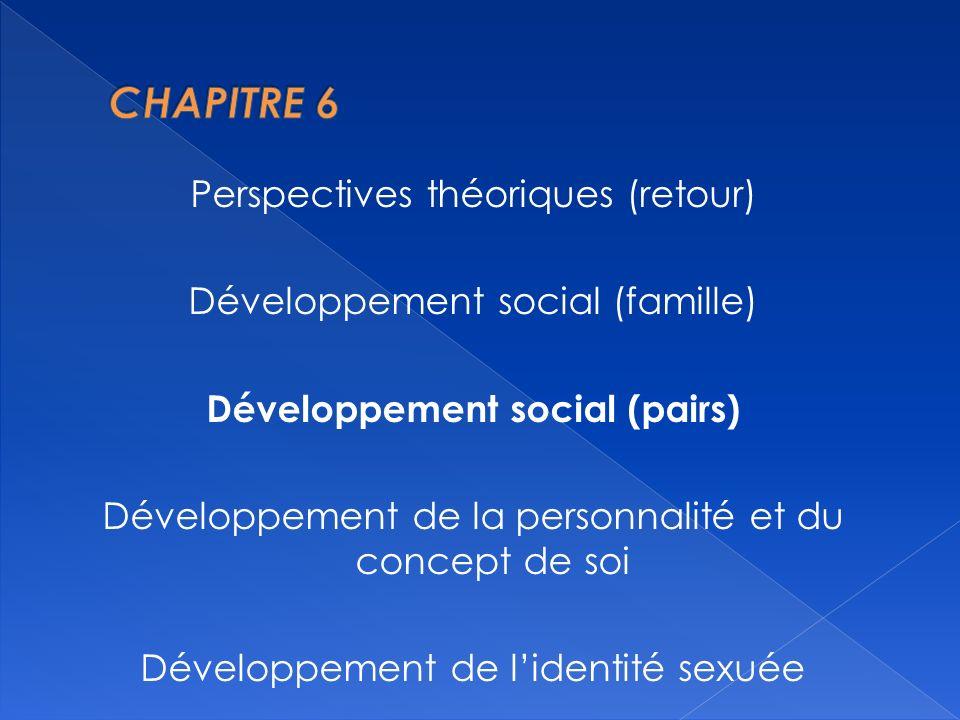 Perspectives théoriques (retour) Développement social (famille) Développement social (pairs) Développement de la personnalité et du concept de soi Développement de lidentité sexuée