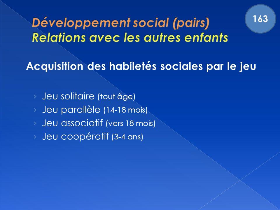 Acquisition des habiletés sociales par le jeu Jeu solitaire (tout âge) Jeu parallèle (14-18 mois) Jeu associatif (vers 18 mois) Jeu coopératif (3-4 ans) 163