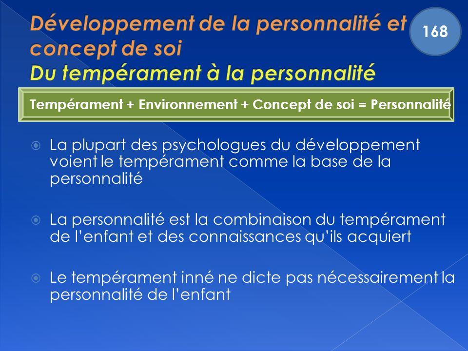 Tempérament + Environnement + Concept de soi = Personnalité La plupart des psychologues du développement voient le tempérament comme la base de la personnalité La personnalité est la combinaison du tempérament de lenfant et des connaissances quils acquiert Le tempérament inné ne dicte pas nécessairement la personnalité de lenfant 168