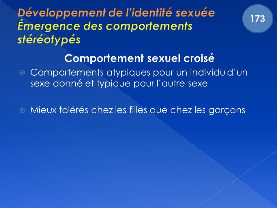 Comportement sexuel croisé Comportements atypiques pour un individu dun sexe donné et typique pour lautre sexe Mieux tolérés chez les filles que chez les garçons 173