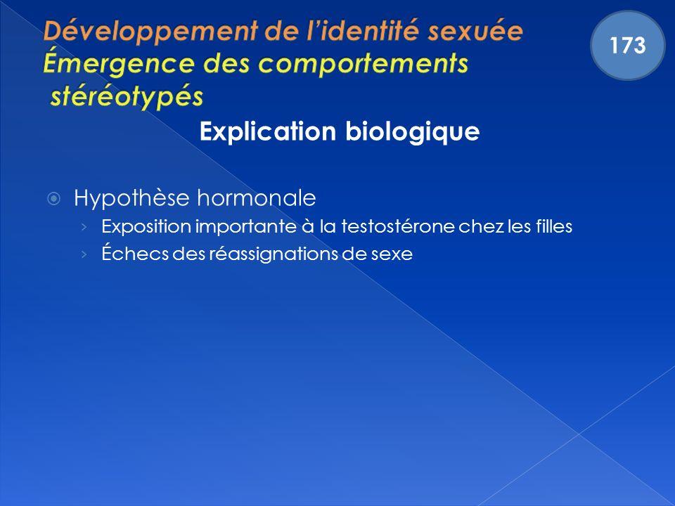 Explication biologique Hypothèse hormonale Exposition importante à la testostérone chez les filles Échecs des réassignations de sexe 173