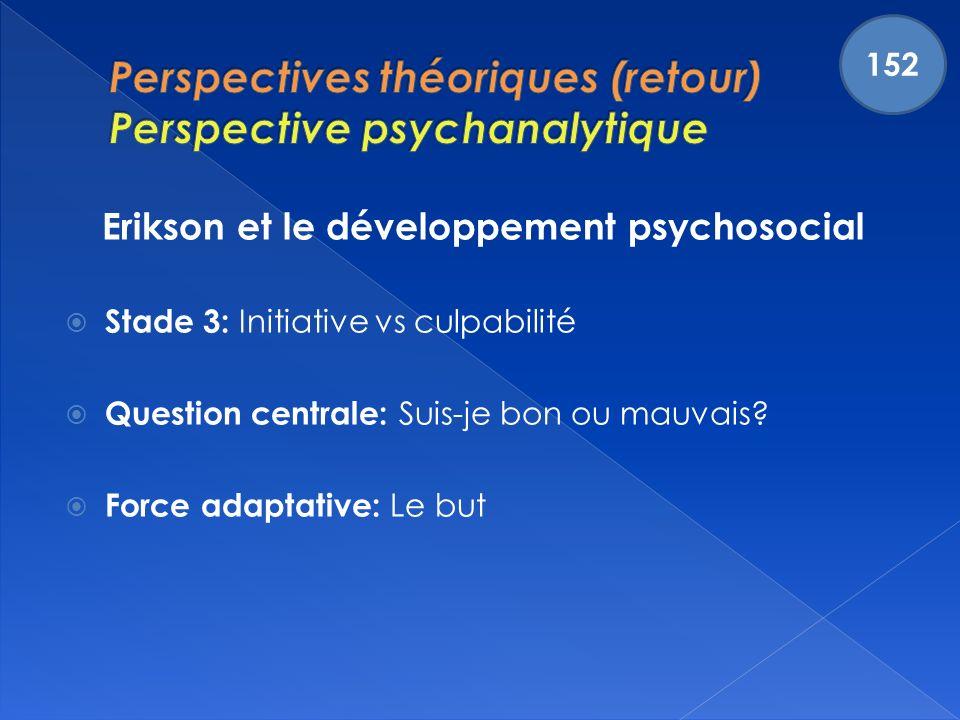 Erikson et le développement psychosocial Stade 3: Initiative vs culpabilité Question centrale: Suis-je bon ou mauvais.