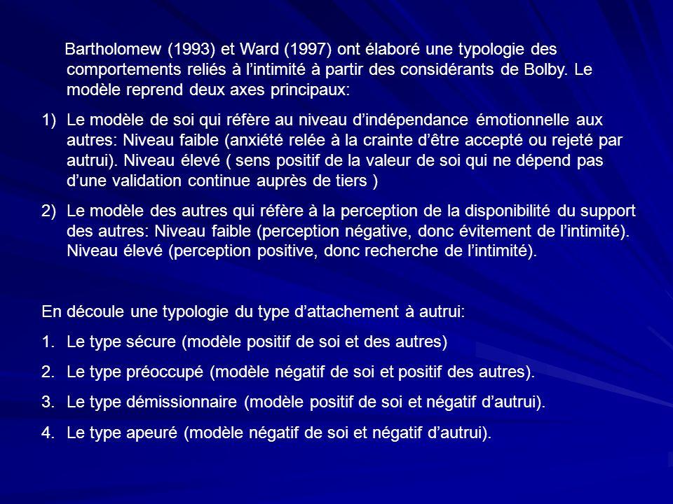 Bartholomew (1993) et Ward (1997) ont élaboré une typologie des comportements reliés à lintimité à partir des considérants de Bolby. Le modèle reprend