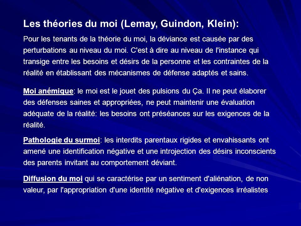 Les théories du moi (Lemay, Guindon, Klein): Pour les tenants de la théorie du moi, la déviance est causée par des perturbations au niveau du moi. C'e