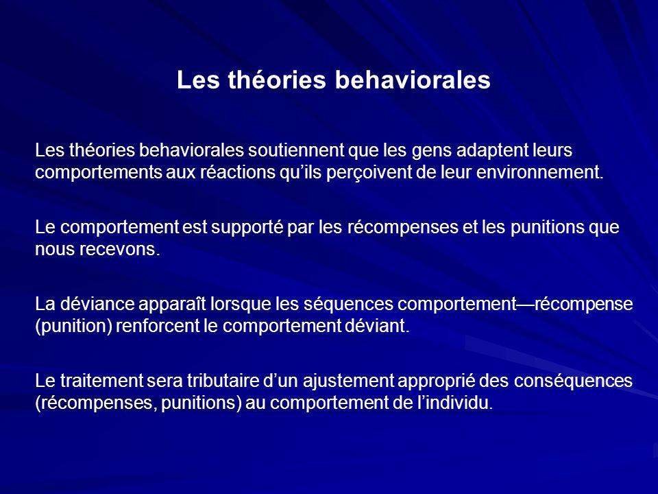 Les théories behaviorales Les théories behaviorales soutiennent que les gens adaptent leurs comportements aux réactions quils perçoivent de leur envir