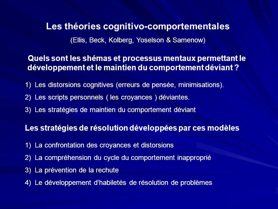 Les théories cognitivo-comportementales (Ellis, Beck, Kolberg, Yoselson & Samenow) Quels sont les shémas et processus mentaux permettant le développem