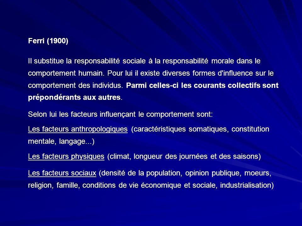 Ferri (1900) Il substitue la responsabilité sociale à la responsabilité morale dans le comportement humain. Pour lui il existe diverses formes d'influ